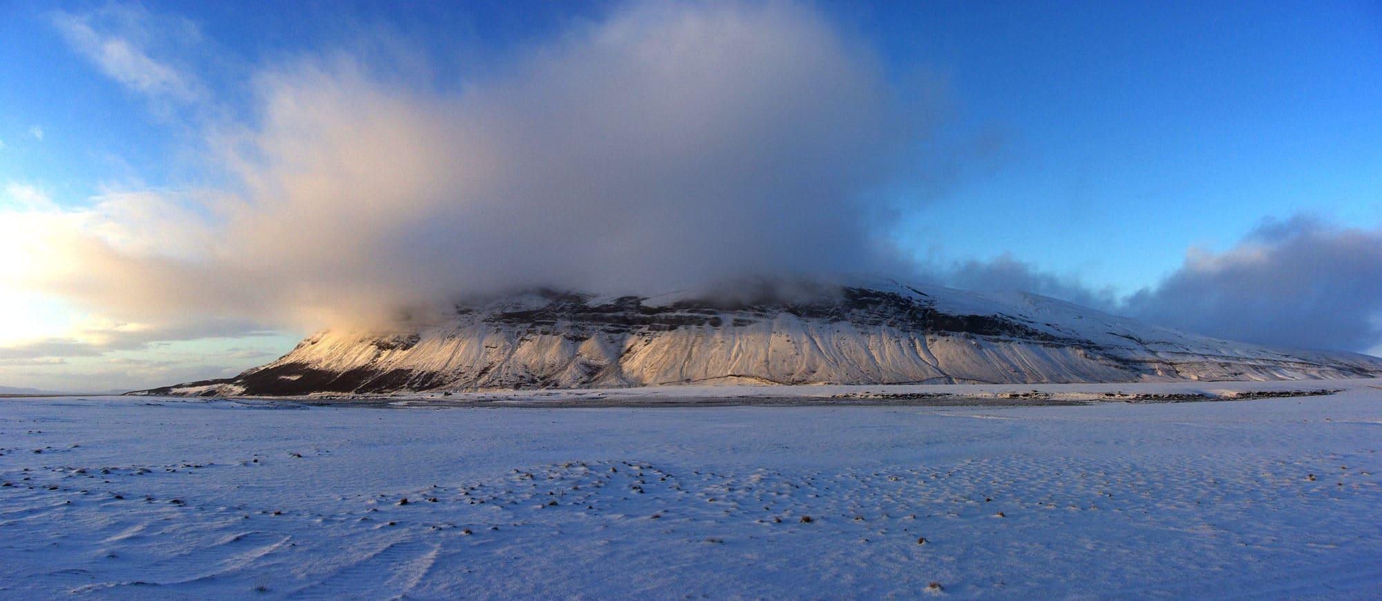 L'Islande au mois de novembre. 15h le soleil se couche.