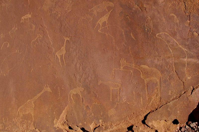 Gravures rupestres à Twylfelfontein dans le Damaraland.