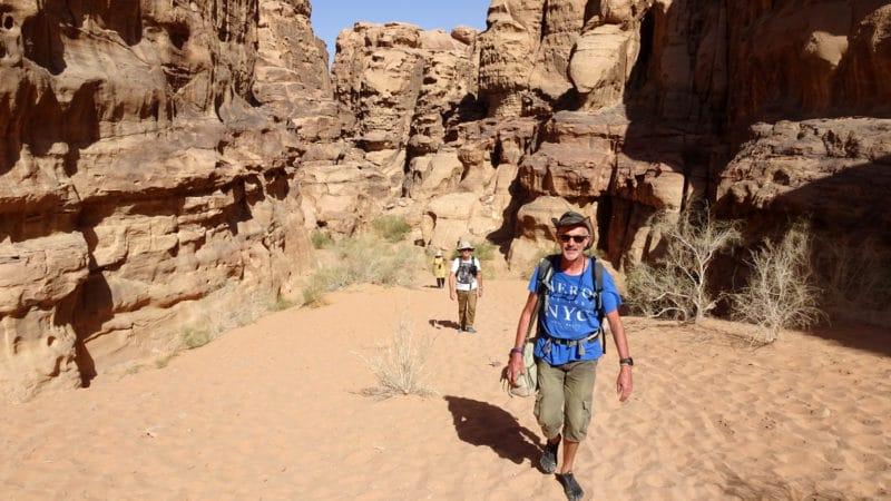 Jordanie. Balade dans les canyons du Wadi Rum.