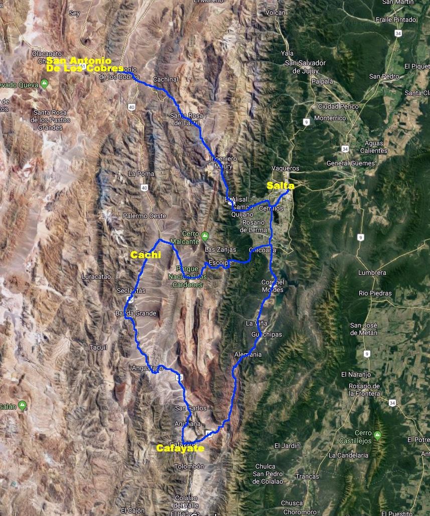 Carte satellite de notre parcours.