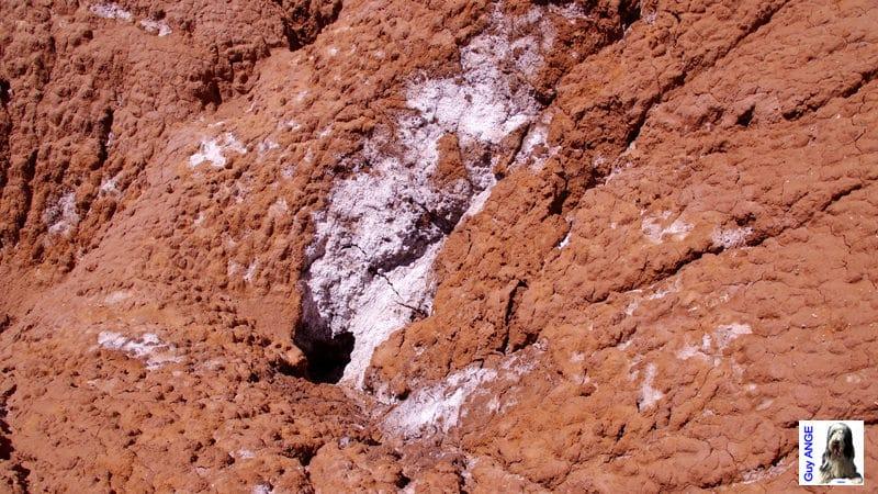 Argentine, région de la Puna. Dépôts de sel sur l'argile.