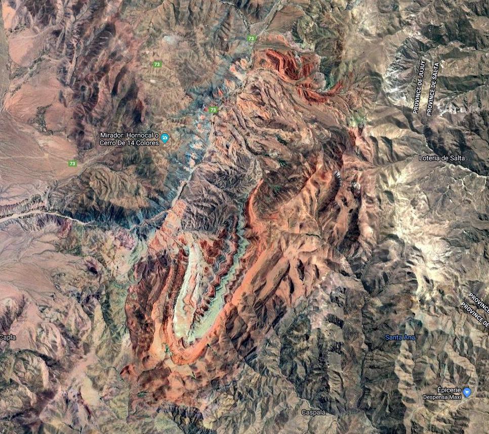 Vue satellite de l'hornocal de Humahuaca. Nous avons pris les photos du Mirador (en haut à gauche).