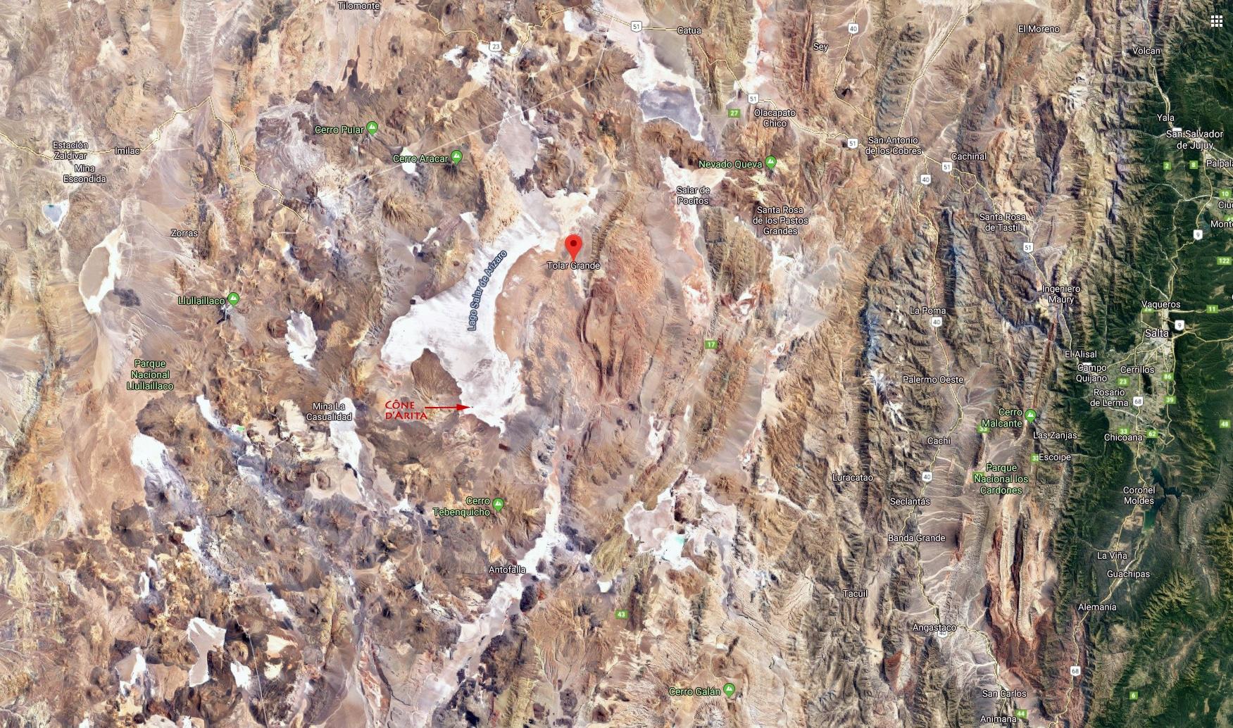 Vue satellite de la région que nous avons visitée. Salta sur la droite, Tolar Grande au milieu,
