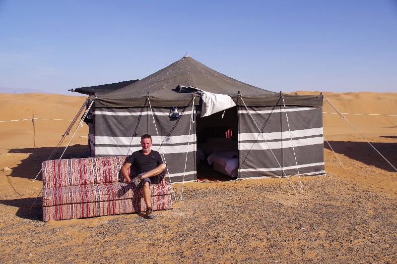 Arabian Oryx Camp, installation dans notre tente.