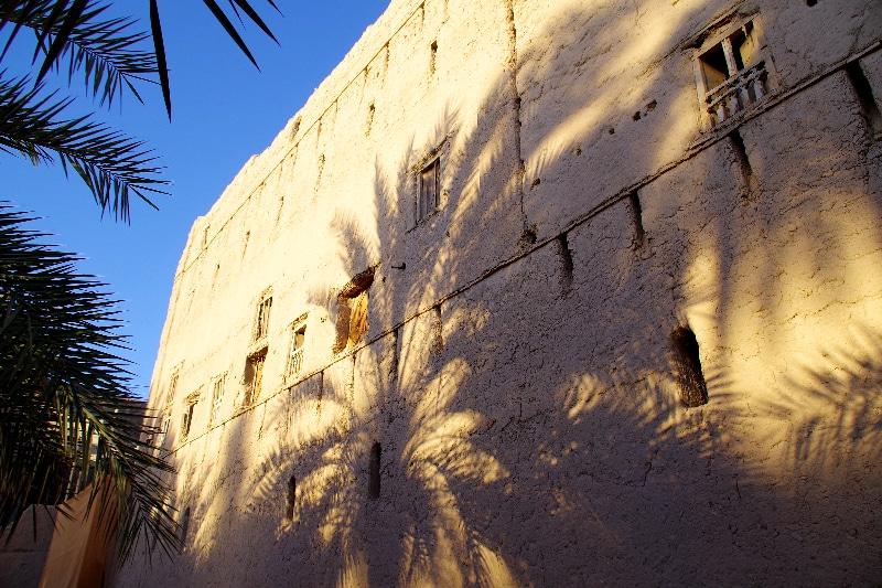 Le village abandonné de Birkat au soleil couchant.