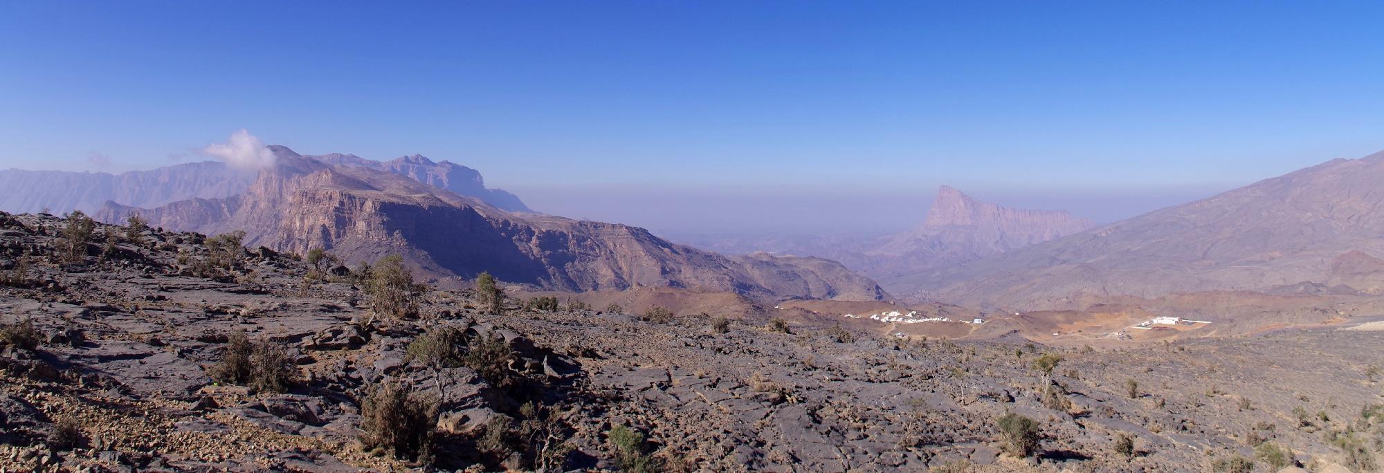 Randonnée dans le Djebel Shams. Départ du sentier.