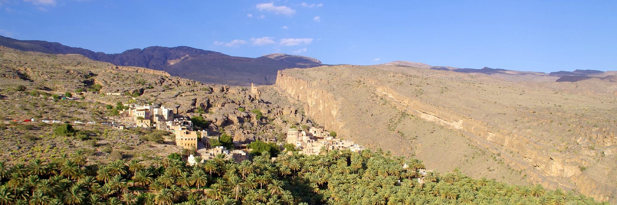 Le village de Misfat et sa palmeraie à ses pieds.