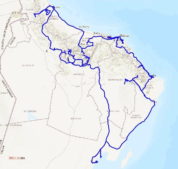 Notre parcours en Oman automne 2019.