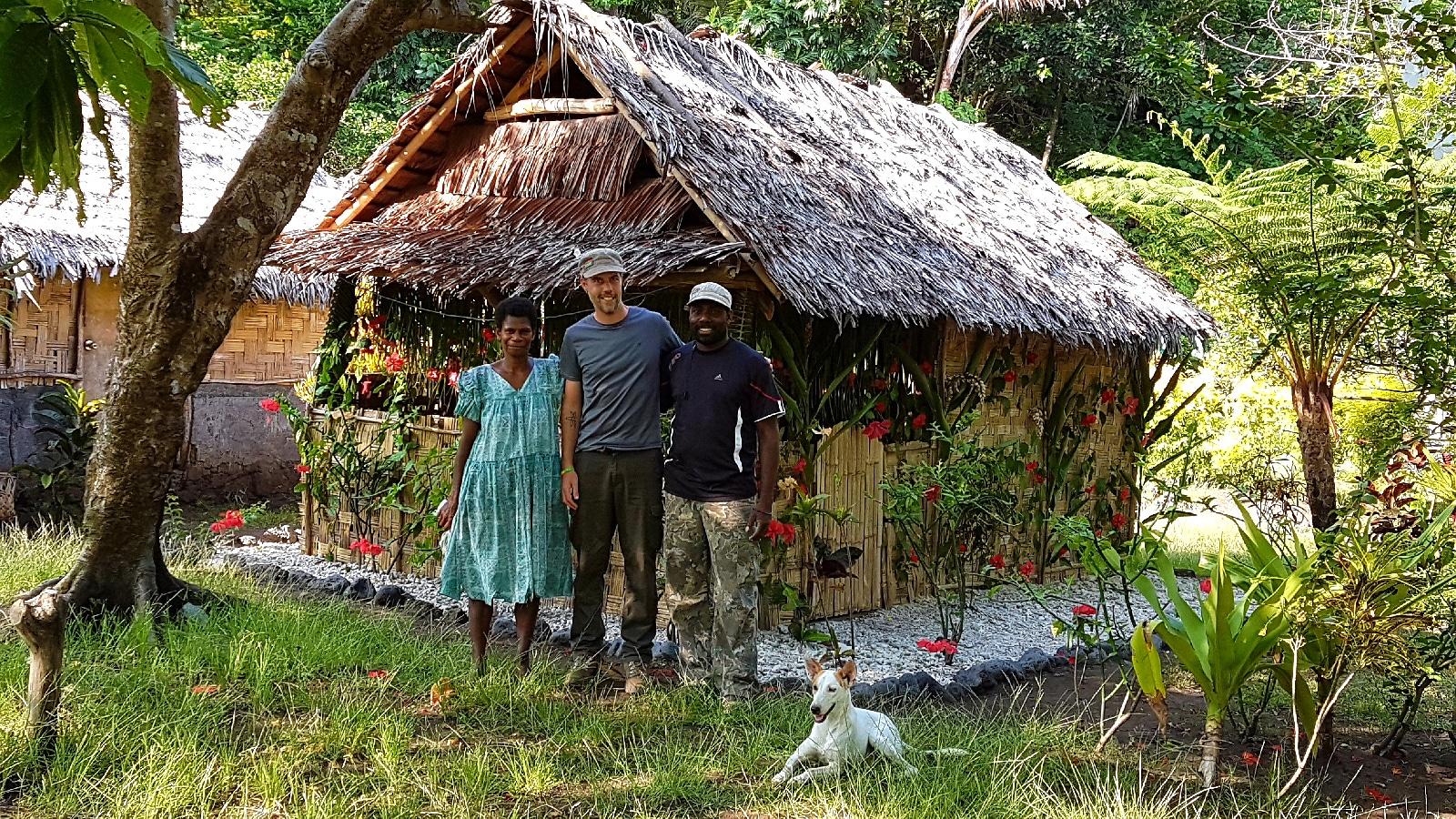 Accueil sur l'île d'Ambrym, Vanuatu.
