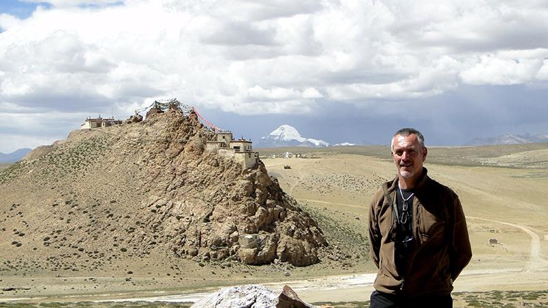 Monastère de Chiu gompa avec le Mont Kailash en fond.