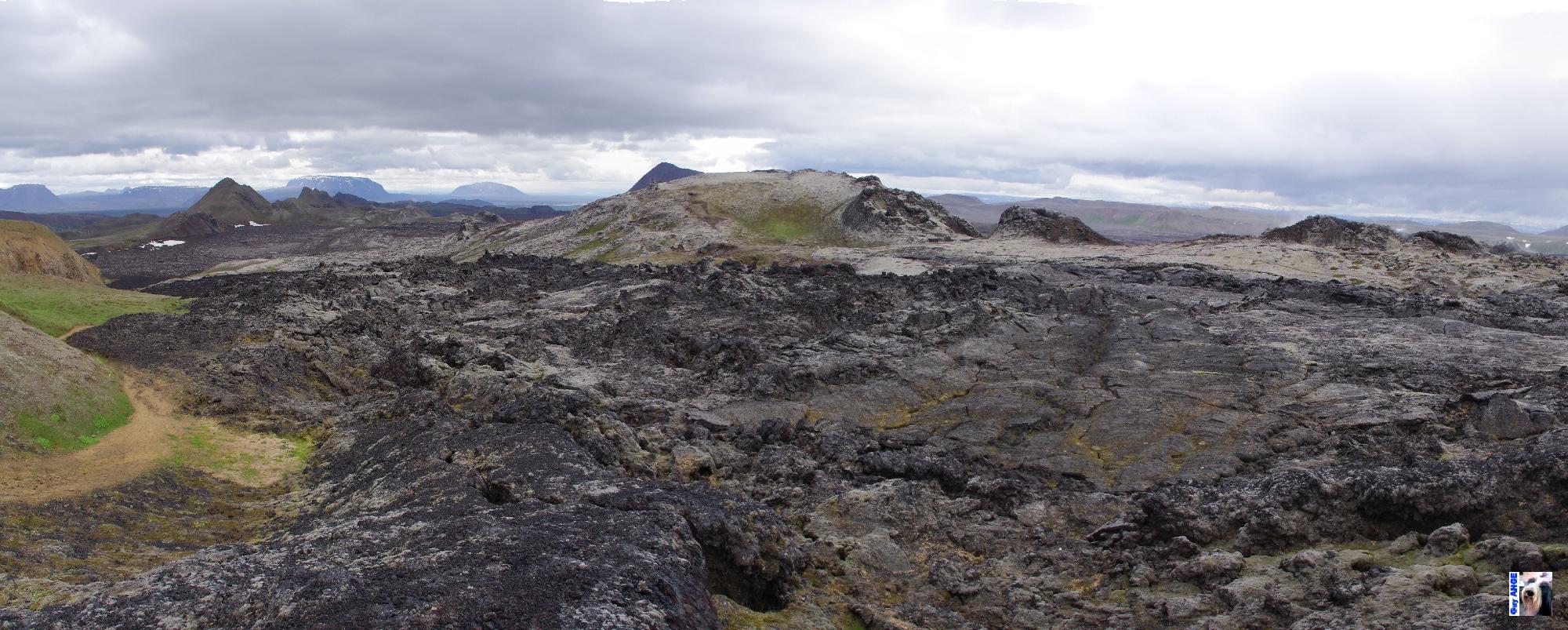 Les champs de lave de Krafla, éruption de 1984.
