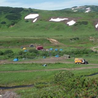 Camp de base au Gorely et Mutnovsky.